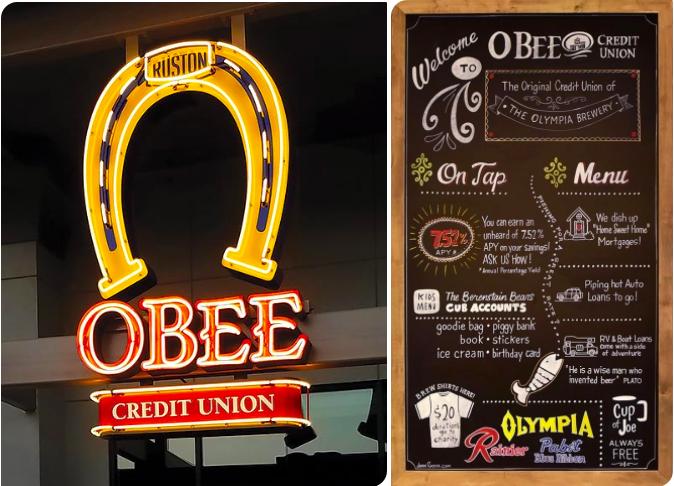 Ein Schild weist spielerisch auf die Angebote der Genossenschaftsbank hin © OBee Credit Union